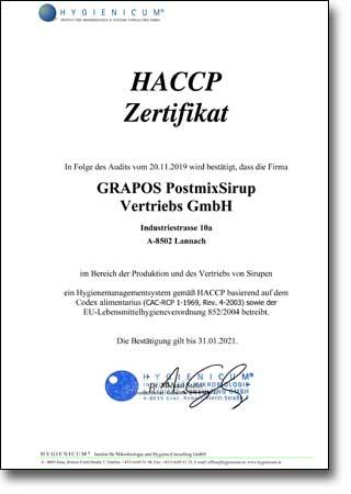 Grapos HACCP tanúsítvány